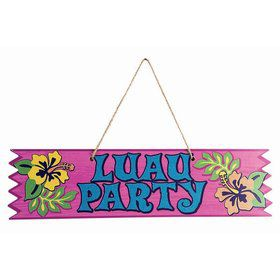 "Luau ""Luau Party"" 4"" x 15.5"" Plaque"