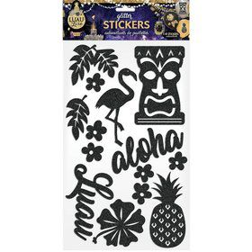 Luau Luxe Black Decorative Glitter Stickers (14 Pieces)