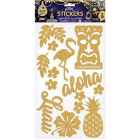 Luau Luxe Silver Decorative Glitter Stickers (14 Pieces)