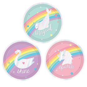 Magical Rainbow Birthday Assorted Dessert Plates (8)