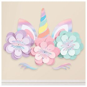 Magical Rainbow Birthday Unicorn Wall Decorating Kit