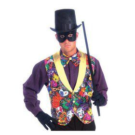 Mardi Gras Adult Multi Color Vest and Bow Tie