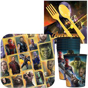 Marvel Avengers Infinity War Standard Tableware Kit With Plastic Favor Cups (Serves 8)
