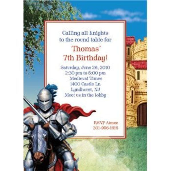 Medieval Knight Personalized Invitation Custom Invitations – Medieval Birthday Invitations