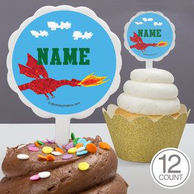 Medieval Pixels Personalized Cupcake Picks (12 Count)