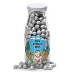 Medieval Pixels Personalized Glass Milk Bottles (10 Count)