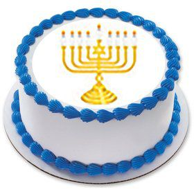 "Menorah 7.5"" Round Edible Cake Topper (Each)"