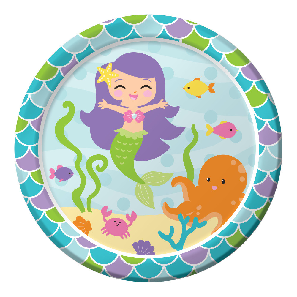 "Mermaid Friends 9"" Lunch Plates (8 Count) BB317264"