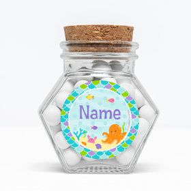 "Mermaid Friends Personalized 3"" Glass Hexagon Jars (Set of 12)"