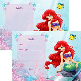 Mermaid Personalized Thank You Note (Each)