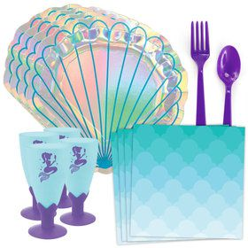 Mermaid Shell Standard Tableware Kit With Molded Cups (Serves 8)