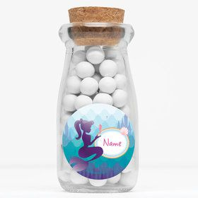"Mermaid Under the Sea Personalized 4"" Glass Milk Jars (Set of 12)"