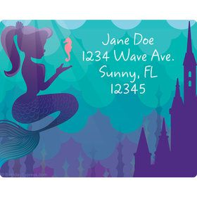 Mermaid Under the Sea Personalized Address Labels (Sheet of 15)