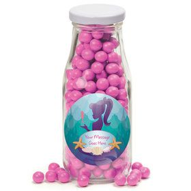 Mermaid Under the Sea Personalized Glass Milk Bottles (12 Count)