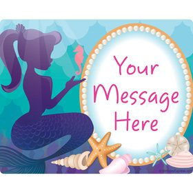 Mermaid Under the Sea Personalized Rectangular Stickers (Sheet of 15)