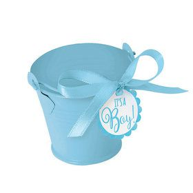 Metal Blue Pail Baby Shower Favor Kit (18 Count)