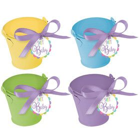 Metal Pastel Pail Baby Shower Favor Kit (18 Count)