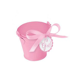 Metal Pink Pail Baby Shower Favor Kit (18 Count)