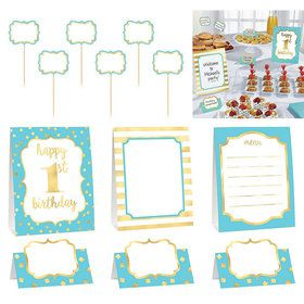 Metallic Blue & Gold 1st Birthday Buffet Decorating Set