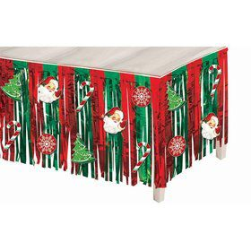 Metallic Christmas Icons Mylar Table Skirt