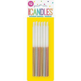 "Metallic Dipped Birthday Candles 5"" - Assorted 12ct"