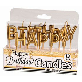 Metallic Gold Happy Birthday Candles (13)