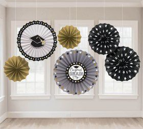Metallic Grad Fan Decorations (6 Pack)