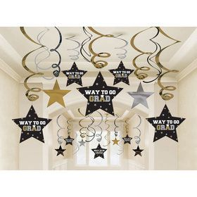 Graduation Metallic Hanging Swirl Decorations (30 Count)