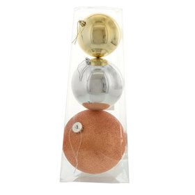 Metallic Large Assorted Ball Ornament Set (3)