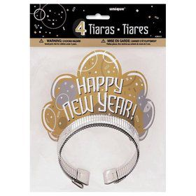 Metallic New Years Glitter Tiaras (4 Pack)