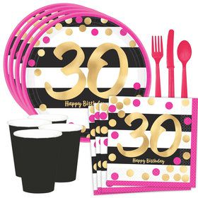 Metallic Pink & Gold 30th Birthday Dessert Standard Tableware Kit (Serves 8)