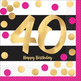 Metallic Pink & Gold 40th Birthday Beverage Napkins (16)