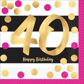 Metallic Pink & Gold 40th Birthday Luncheon Napkins (16)