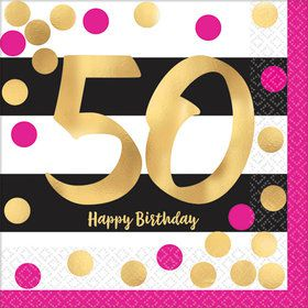 Metallic Pink & Gold 50th Birthday Beverage Napkins (16)