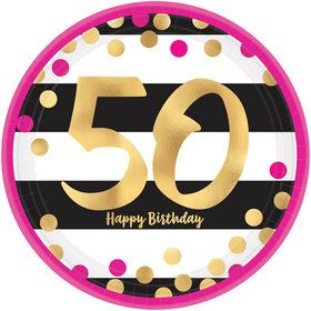 Metallic Pink & Gold 50th Birthday Lunch Plates (8)