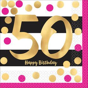 Metallic Pink & Gold 50th Birthday Luncheon Napkins (16)