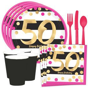 Metallic Pink & Gold 50th Birthday Standard Tableware Kit (Serves 8)