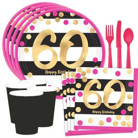 Metallic Pink & Gold 60th Birthday Dessert Standard Tableware Kit (Serves 8)