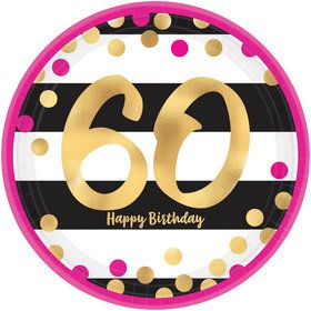 Metallic Pink & Gold 60th Birthday Lunch Plates (8)
