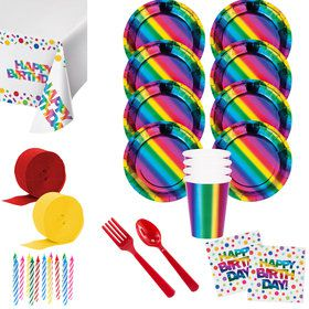 Metallic Rainbow Birthday Deluxe Tableware Kit (Serves 8)
