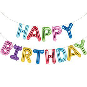 "Metallic Rainbow ""Happy Birthday"" Balloon Banner"