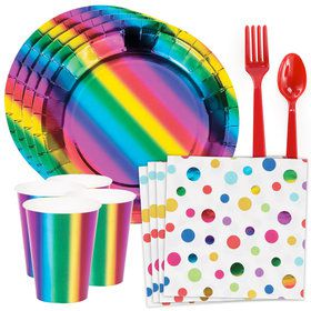 Metallic Rainbow Standard Tableware Kit (Serves 8)