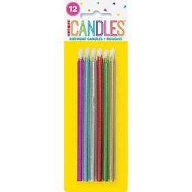 "Metallic Spiral Birthday Candles 5"" - Assorted 12ct"