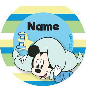 Mickey 1st Birthday Personalized Mini Stickers (Sheet of 20)