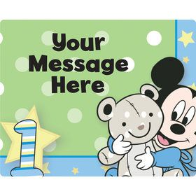 Mickey 1St Birthday Personalized Rectangular Stickers (Sheet of 15)