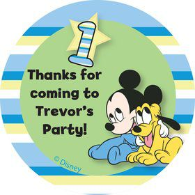 Mickey 1st Birthday Personalized Stickers (Sheet of 12)