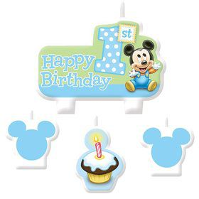 Mickey Mouse 1st Birthday Candle Set (4 Pack)