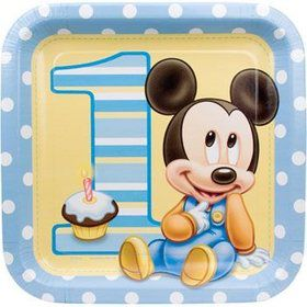 Mickey Mouse 1st Birthday Dinner Plates (8-pack)