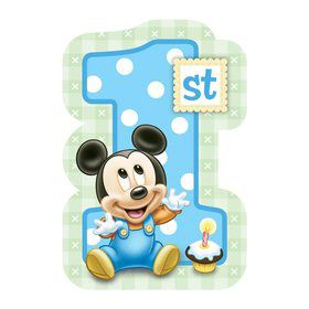 Mickey Mouse 1st Birthday Postcard Invitations (8 Pack)