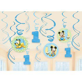Mickey Mouse 1st Birthday Swirl Hanging Decorations (12 Pack)
